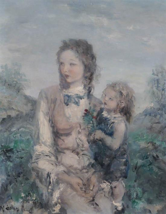 Aurél Náray (Hungarian 1883-1948), Mother and Child in a Landscape