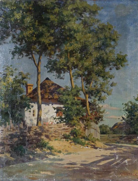 Tibor Szontágh (Hungarian 1873-1930), House in the Country