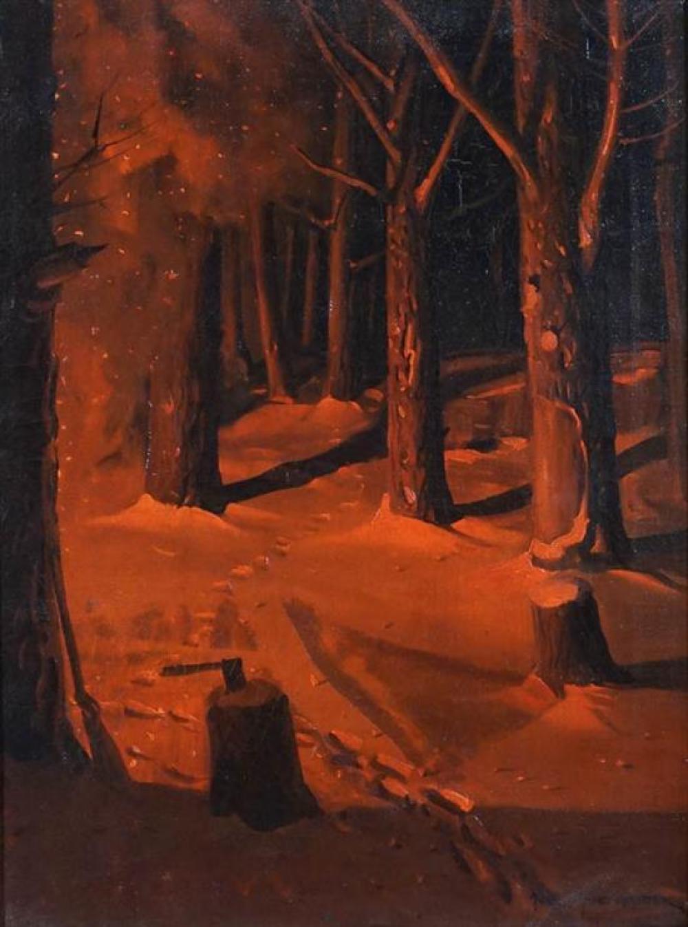 Svend Svendsen (Norwegian 1864-1945), Winter Forest Fire at Night