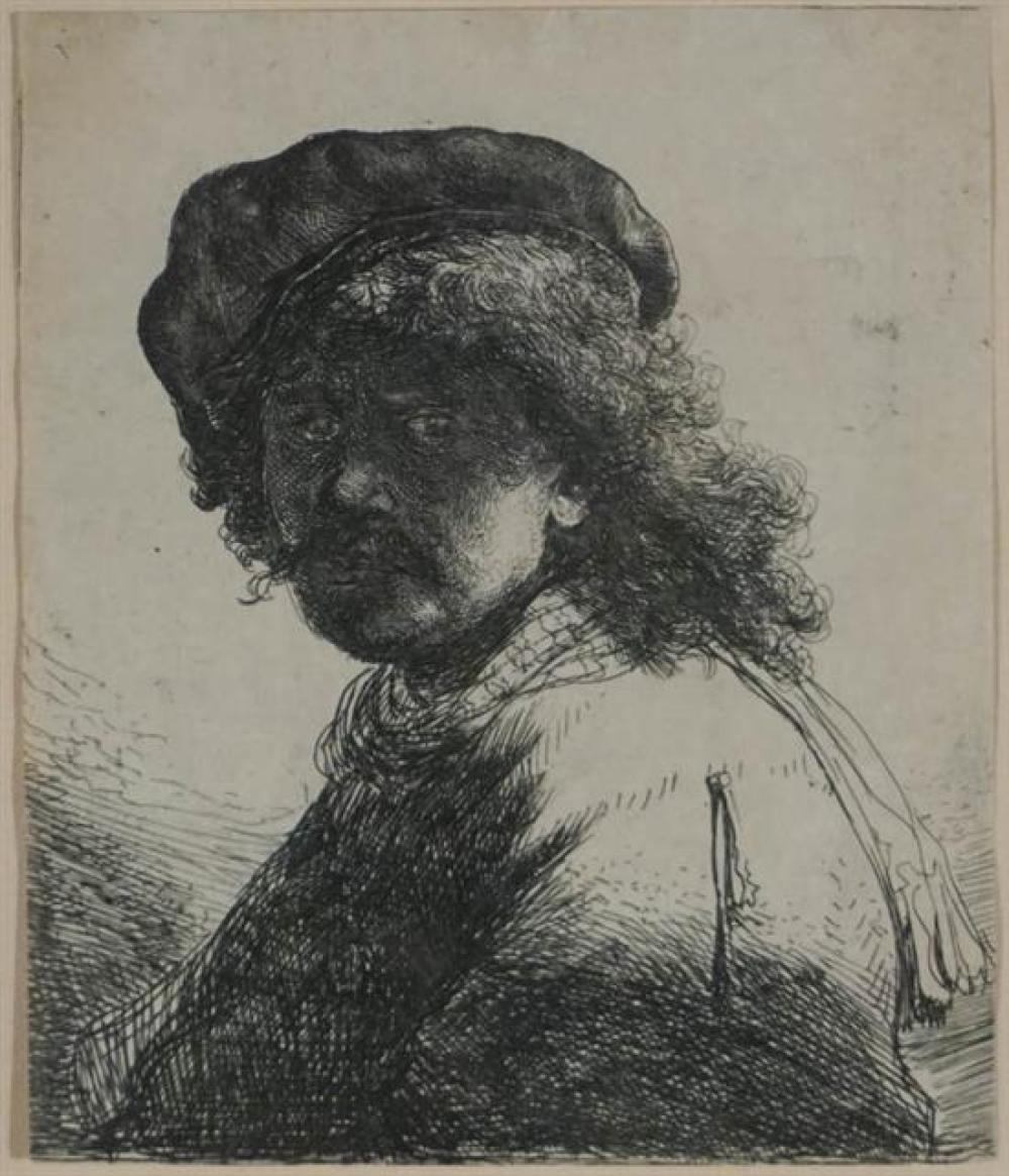 Rembrandt Harmensz van Rijn (Dutch 1606-1669), Self Portrait in a Cap and Scarf with the Face Dark: Bust