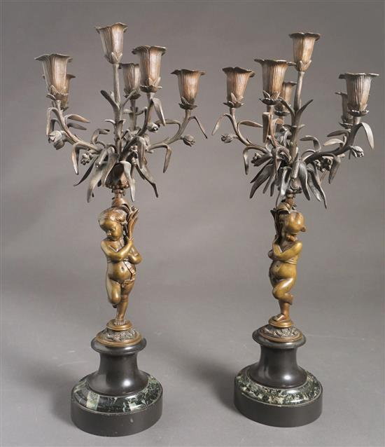 Pair of French Bronze, Slate and Mottled Green Marble Putto Six-Light Candelabra Late 19th century