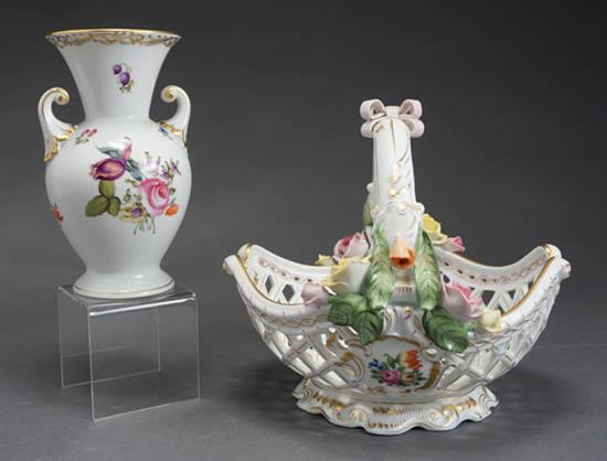 Herend 'Printemp' Pierced Basket-Form Bowl and a Vase Post 1950