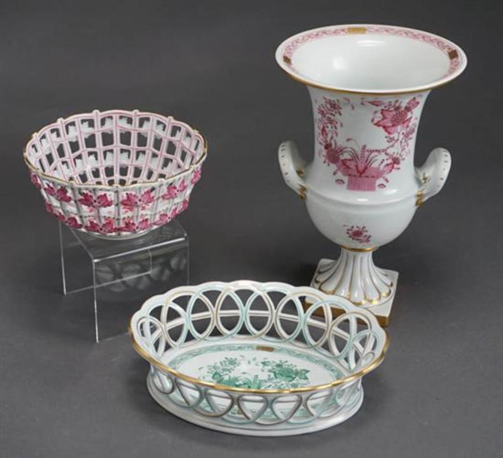 Herend 'Chinese Bouquet Raspberry' Vase and Pierced Bowl and a 'Chinese Bouquet Green' Pierced Bowl Post 1950
