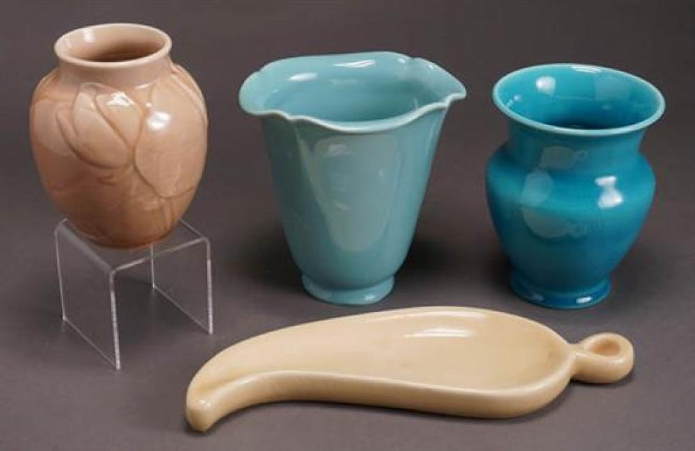 Three Rookwood Vases and a Leaf Shaped Dish 20th Century