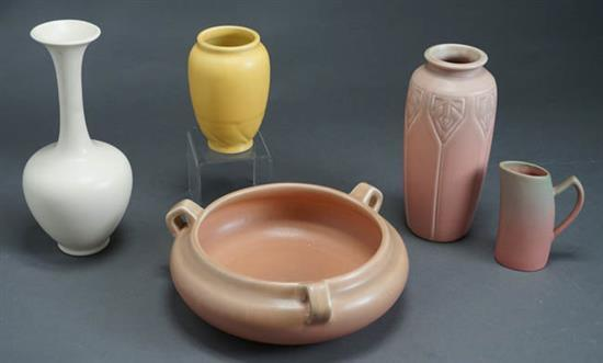 Three Rookwood Vases, a Centerbowl and a Creamer 20th Century