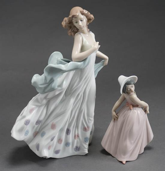 Two Lladró Figures of 'Summer Serenade' and 'Girl in Pink Dress' Post 1950