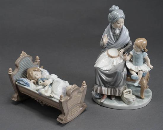 Two Lladró Figures of 'Visit with Granny' and 'Rock A Bye Baby' Post 1950