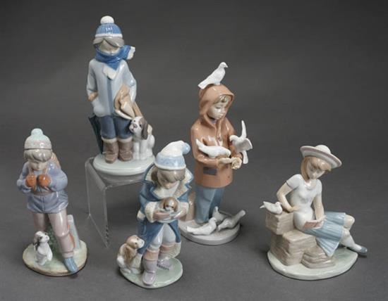 Five Lladró Figures of Children with Puppies and Doves Post 1950