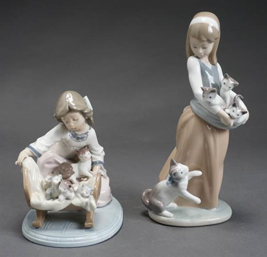 Two Lladró Figures of Girls with Kittens Post 1950