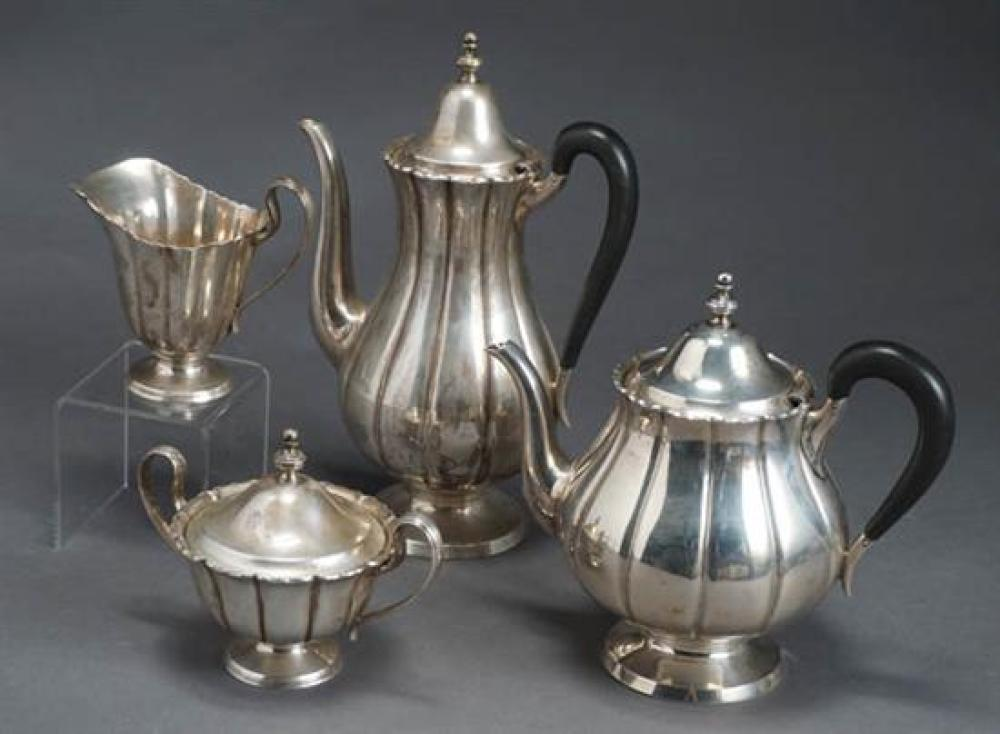 Worden-Munnos Co. Sterling Four-Piece Coffee and Tea Service, Retailed by Alexander, Inc. Boston, Dublin Pattern, Circa 1940-1960
