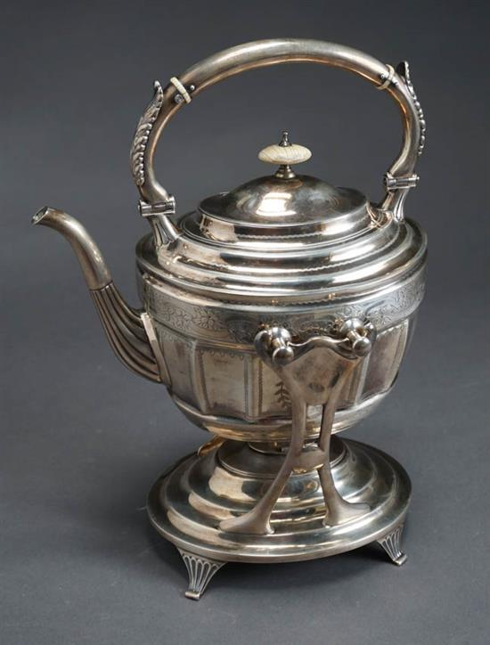 J. H. Johnston & Co. Sterling Bright-Cut Banded Hot Water Kettle on Burner Stand New York, Circa 1885