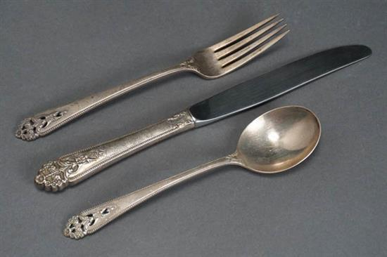 International Silver Co. Sterling Flat Table Service Meriden, CT, Queen's Lace Pattern, Introduced 1949