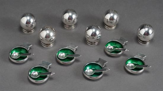 Georg Jensen Sterling 'Pyramid' Condiment Set Designed by Harald Nielson, Introduced in 1926