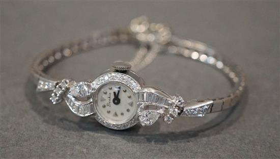 14 Karat White Gold Diamond Quartz Watch, approx. 1.25 ct, 10.7 dwt.
