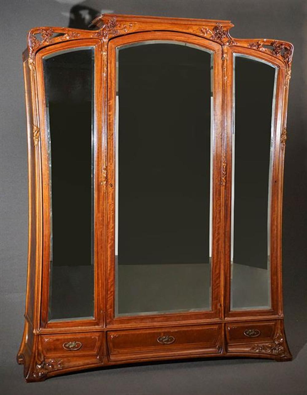 Louis Majorelle Carved and Figured Mahogany 'Les Lilas' Armoire Circa 1905
