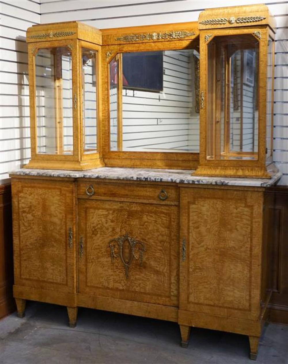 Louis XVI Style Gilt Metal Mounted Pollard Oak and Mirrored Back Sideboard Height: 79 in, Width: 67 in, Depth: 22-1/2 in