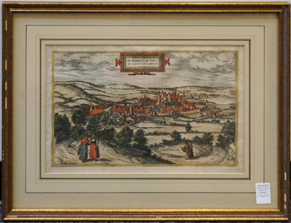 Joris Hoefnagel (Flemish 1542-1601), Blanmmont au Pays de Vaug en Loreyne, Color Engraved Map, Frame: 21-1/4 x 27-1/2 in