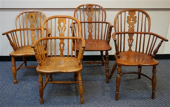 Assembled Set of Four Yewwood and Elmwood Windsor Chairs
