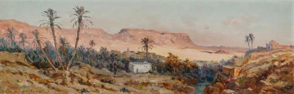 Constant Louche (French 1880-1965), North African Desert Oasis, Signed Oil on Canvas, 16-1/2 x 48-1/2 inches