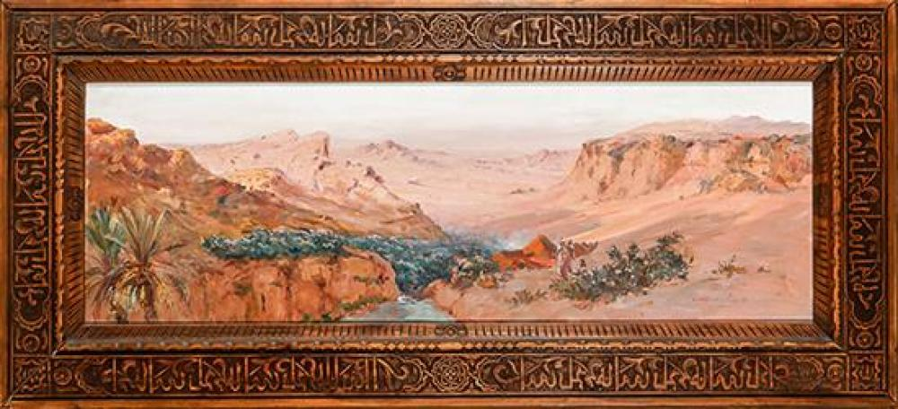 Constant Louche (French 1880-1965), Nomads Beside a Desert Oasis, Signed Oil on Canvas, 16-3/4 x 48-1/4 inches
