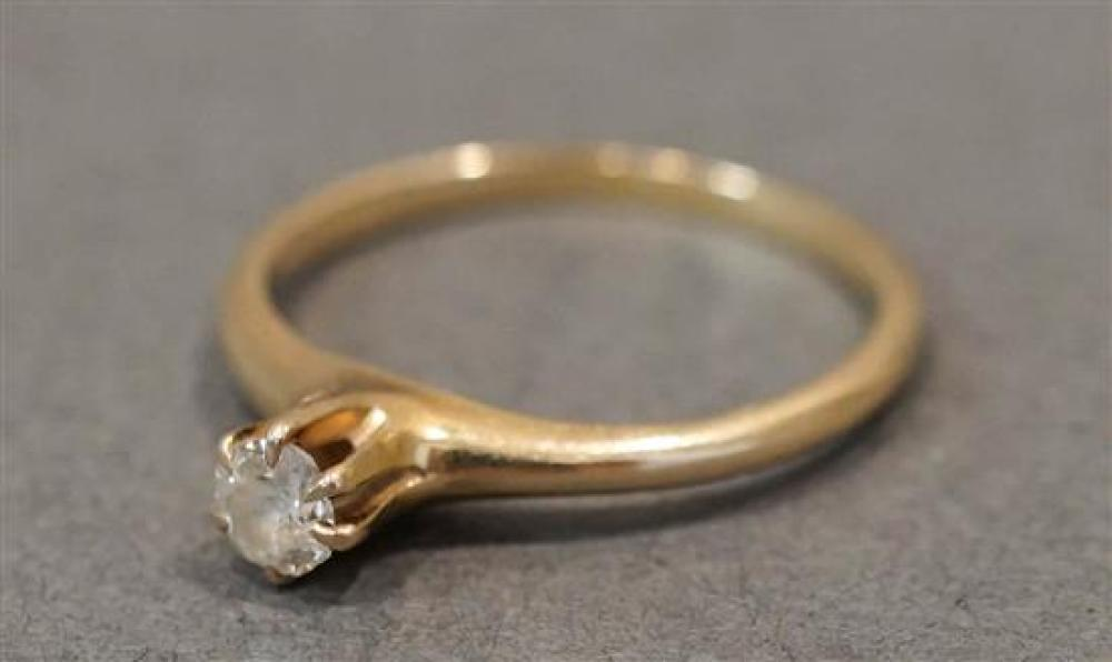 14 Karat Yellow Gold Solitaire Diamond (approx .20 carats), 1.1 dwt., Size 5-3/4 in, Size: 5-3/4