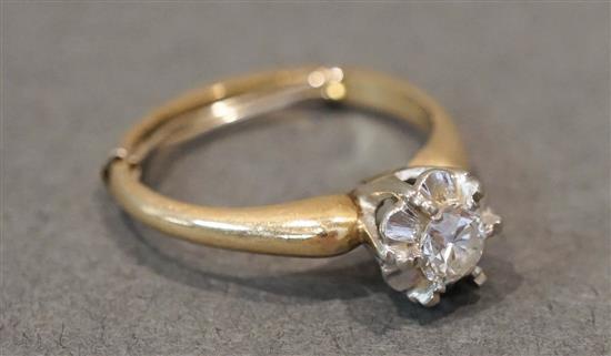 14 Karat Yellow-White Gold Diamond Ring (diamond approx. .30 carats), 1.8 dwt., Size: 5