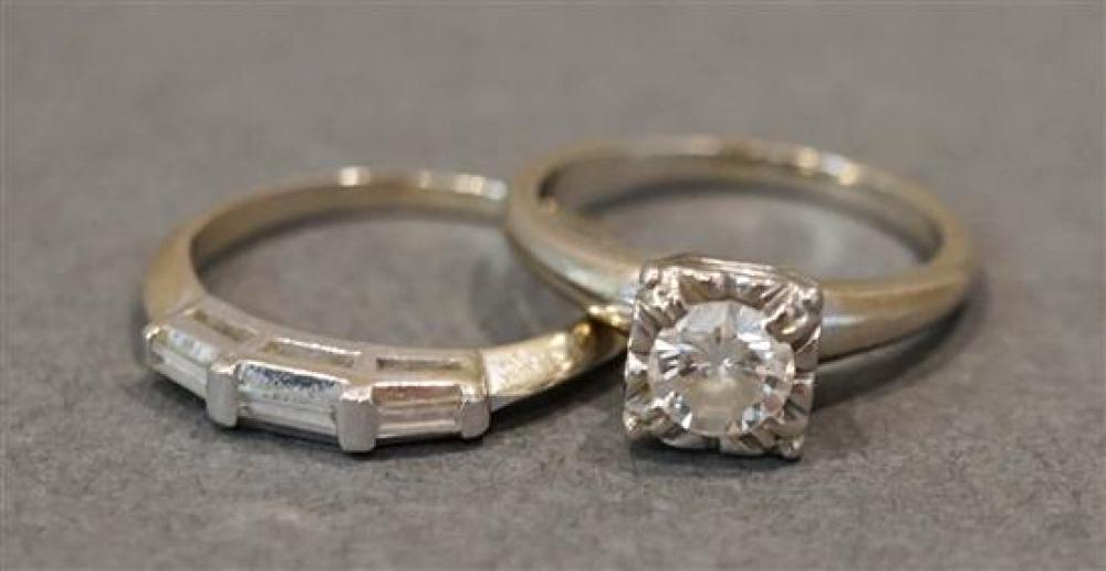14 Karat White Gold Diamond Two-Piece Wedding Set, Size: 3-3/4