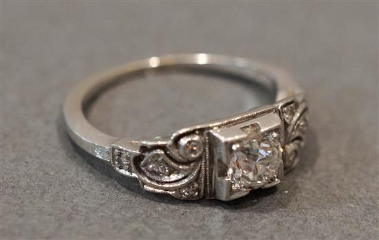 Art Deco Style 18 Karat White Gold Diamond Ring (diamond approx .46 carats), 1.7 gross dwt.