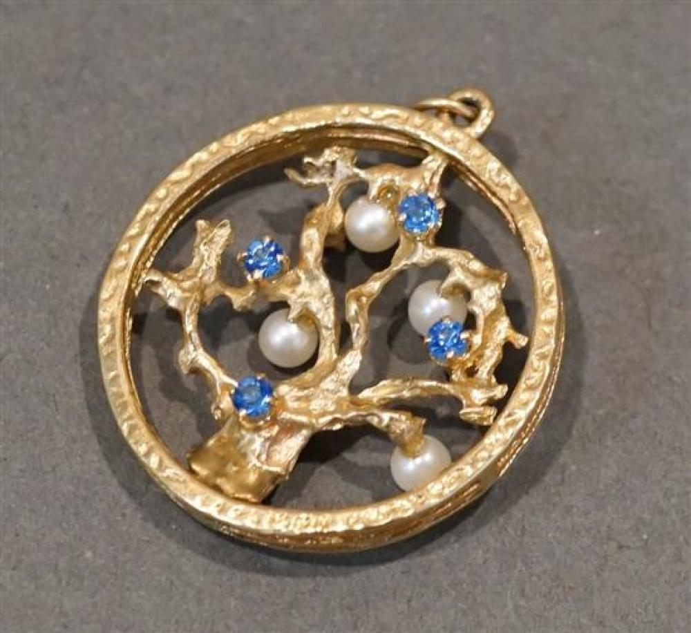 14 Karat Yellow Gold, Ruby, Blue Sapphire and Pearl 'Tree of Life' Pendant, 4.1 gross dwt