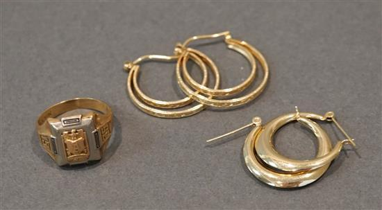 10 Karat Gold Ring and Two Pairs of 14 Karat Yellow Gold Hoop Pierced Earrings, 5.3 gross dwt