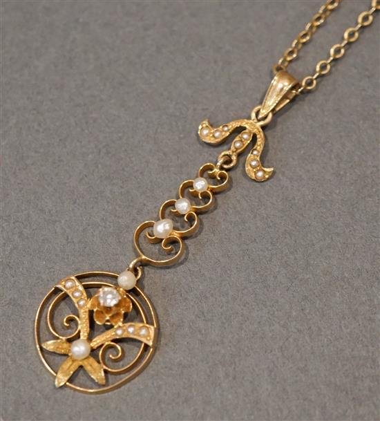 Edwardian 10 Karat Yellow Gold, Diamond, Pearl and Split Pearl Pendant Necklace, 2.2 gross dwt., L: 19 in