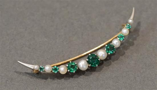 Tested 14 Karat Yellow Gold Platinum Topped, Emerald and Pearl 'Crescent' Brooch, 2.7 gross dwt.