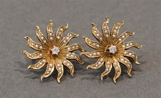 Pair 14 Karat Yellow Gold, Diamond and Split Pearl Screw-Back Earrings, 4.8 gross dwt.
