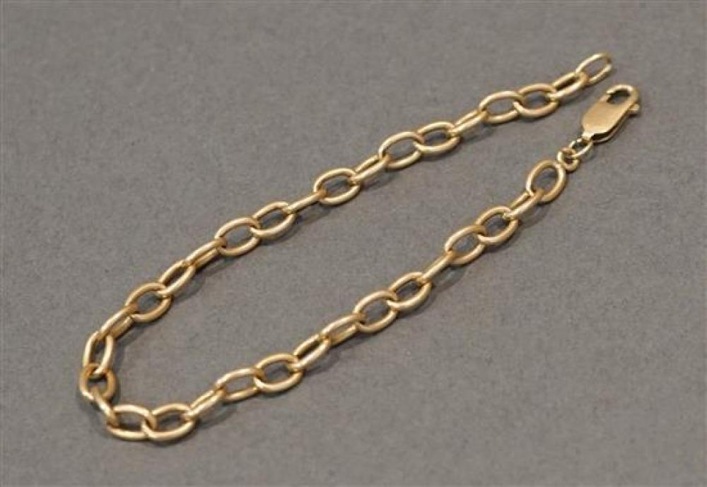 14 Karat Yellow Link Gold Bracelet, 7.2 dwt., L: 8 in