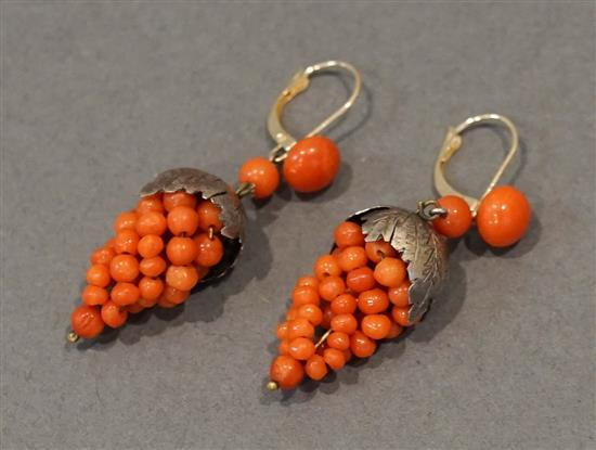 Pair 14 Karat Yellow Gold, Silver and Coral 'Grape Cluster' Pierced Pendant Earrings