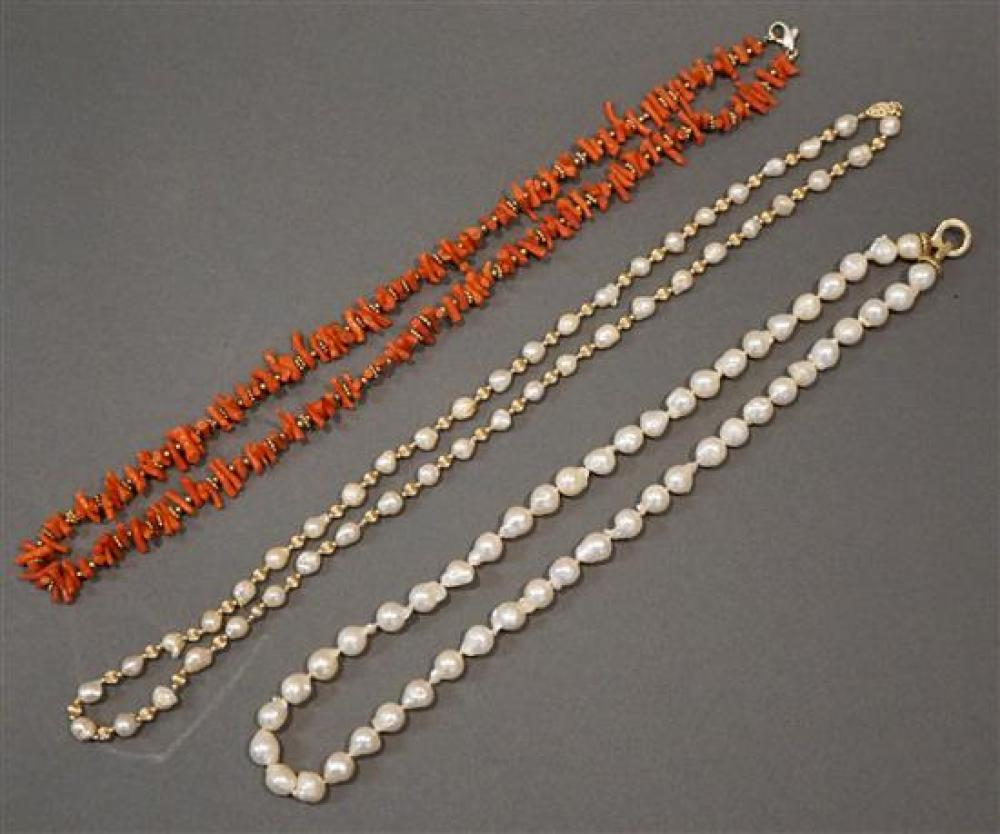 Two 14 Karat Yellow Gold Pearl Necklaces and Branch Coral Necklace