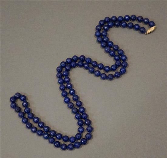 14 Karat Yellow Gold Lapis Bead Necklace, L: 35 in