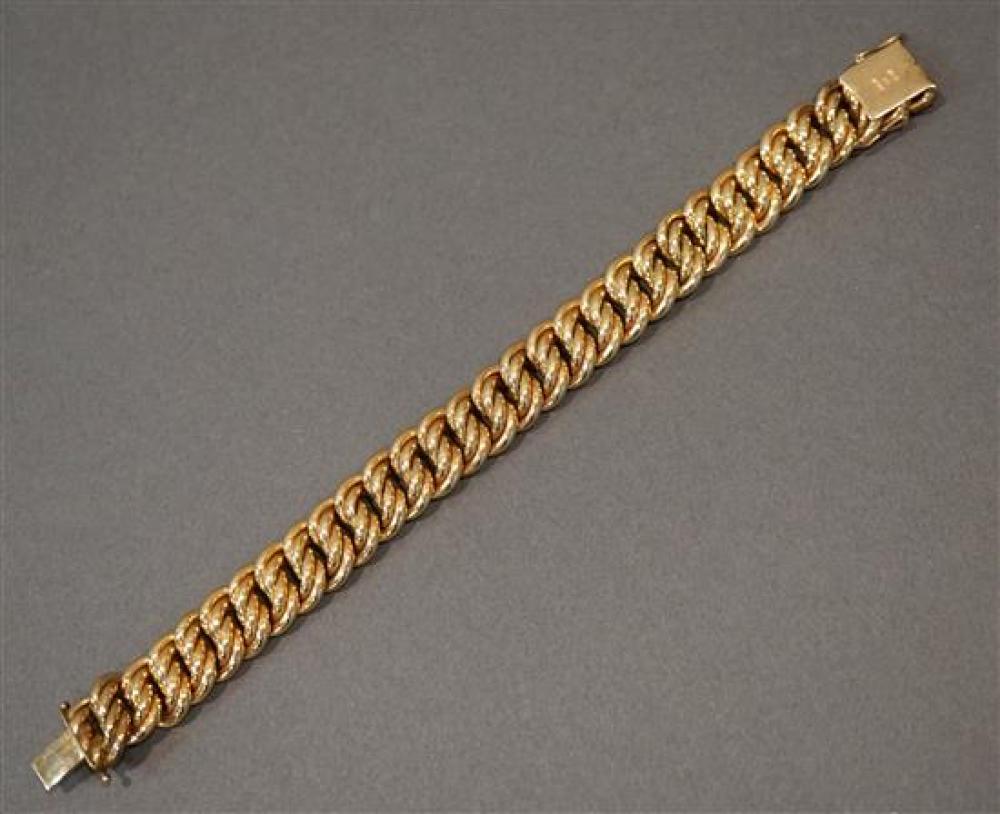14 Karat Hollow Yellow Gold Bracelet, 18.1 dwt., L: 7-1/2 inches