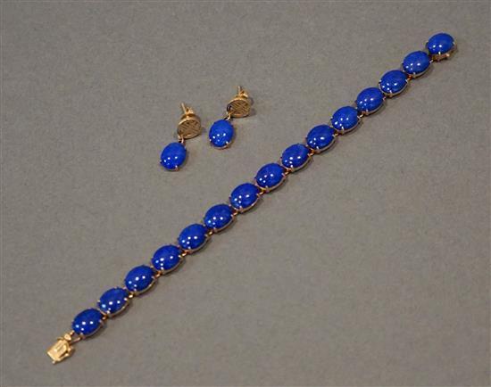 14 Karat Yellow Gold Lapis Lazuli Bracelet and Pair Earrings, L: 6-1/2 inches