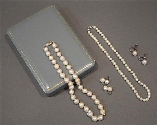 Collection with Pearl Jewelry, consisting of Pair Mikimoto Silver and Cultured Pearl Screw-Back Earrings, Silver and Freshwater Pearl N