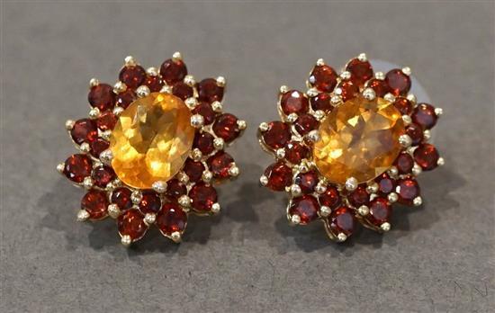 Pair 14 Karat Yellow Gold, Citrine and Garnet Pierced Earrings, 3.5 gross dwt.