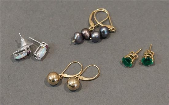 Four Pairs Gold Pierced Earrings