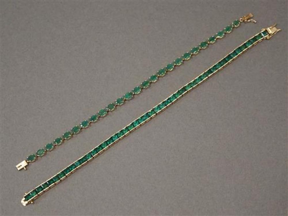 14 Karat Yellow Gold Emerald Bracelet (4.4 gross dwt) and 14 Karat Yellow Gold Synthetic Emerald Bracelet (9.7 gross dwt) Longer L:8 in