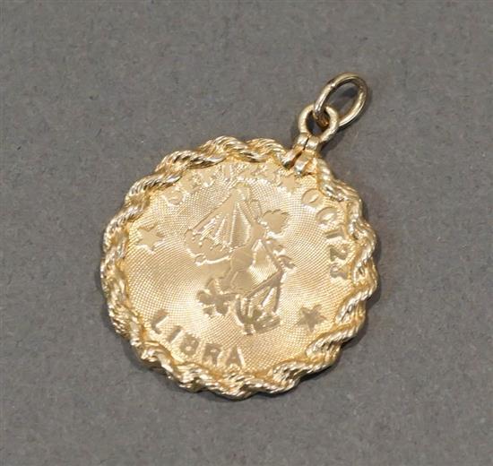 14 Karat Yellow Gold 'Libra' Pendant, 3.7 dwt.