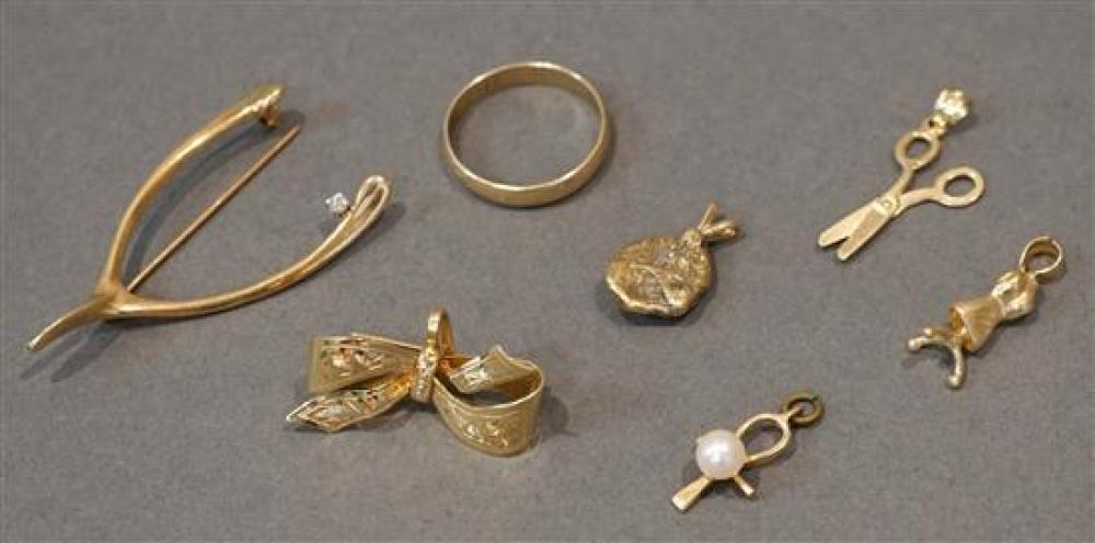 Collection of 14 Karat Yellow Gold and Gem Set Jewelry, 12.5 gross dwt