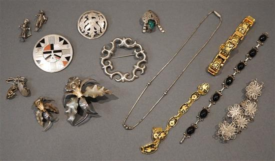 Collection with mostly Silver Jewelry and Two Gold Plate Shugodo-Type Bracelet
