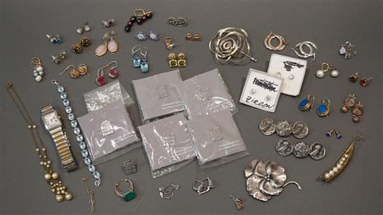 Collection with Michael Michaud 'Peapod' Brooch, Costume Jewelry and Silver Jewelry