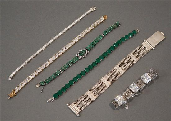 Collection with Six Silver Bracelets