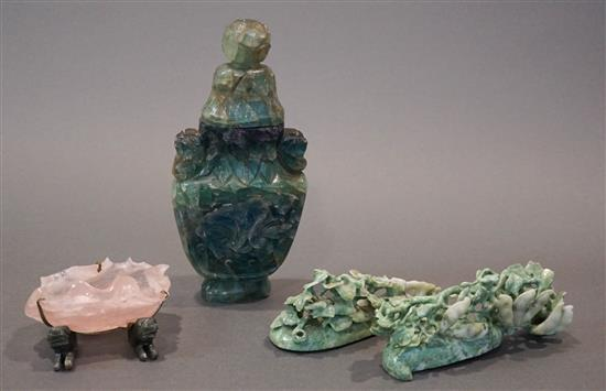 Collection with Three Asian Hardstone Carvings