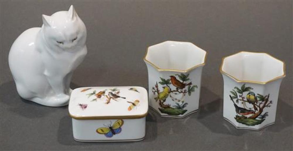 Herend Porcelain Figure of a Cat (ear chipped), and Three Herend Cabinet Articles
